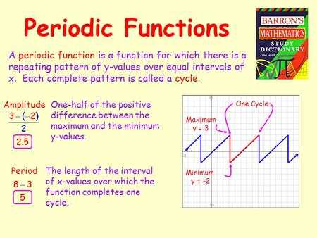 Periodic Functions A periodic function is a function for which there is a repeating pattern of y-values over equal intervals of x. Each complete pattern.