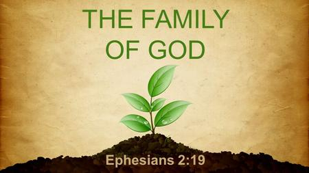 "THE FAMILY OF GOD Ephesians 2:19. ""So then you are no longer strangers and aliens, but you are fellow citizens with the saints and members of the household."