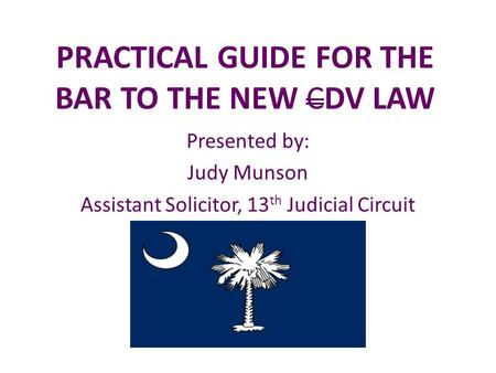 PRACTICAL GUIDE FOR THE BAR TO THE NEW CDV LAW Presented by: Judy Munson Assistant Solicitor, 13 th Judicial Circuit.