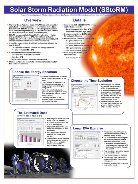 Solar Storm Radiation Model (SStoRM) Prepared by: Joshua Lande–Marlboro College, VT and Ron Turner–ANSER, 2900 South Quincy Street, Suite 800, Arlington,