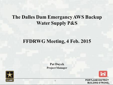 BUILDING STRONG ® PORTLAND DISTRICT 1 The Dalles Dam Emergancy AWS Backup Water Supply P&S FFDRWG Meeting, 4 Feb. 2015 Pat Duyck Project Manager.