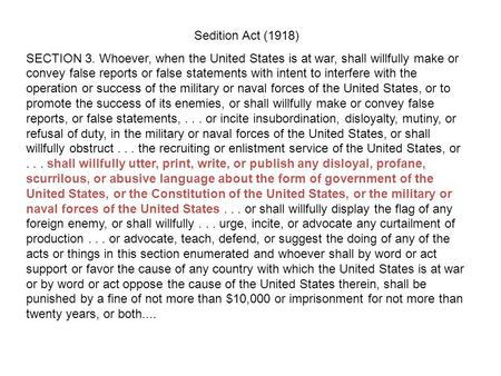 us sedition act 1918 Definition of sedition act of 1918 – our online dictionary has sedition act of 1918   the us congress is the legislative or law-making branch of the american.