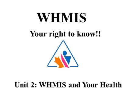 WHMIS Your right to know!! Unit 2: WHMIS and Your Health.