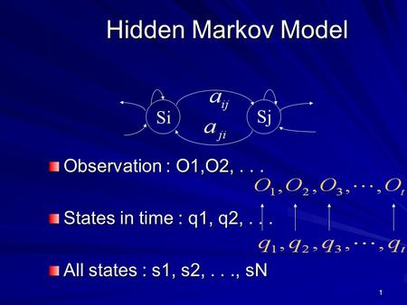 1 Hidden Markov Model Observation : O1,O2,... States in time : q1, q2,... All states : s1, s2,..., sN Si Sj.