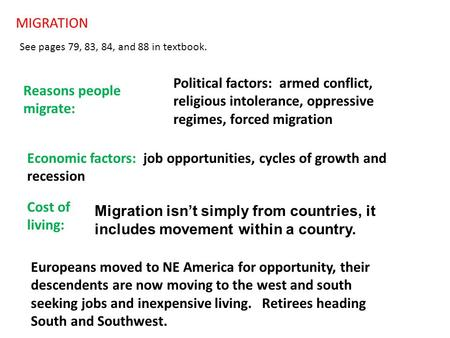 MIGRATION See pages 79, 83, 84, and 88 in textbook. Reasons people migrate: Political factors: armed conflict, religious intolerance, oppressive regimes,