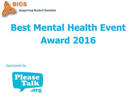 Best Mental Health Event Award 2016 Sponsored by.