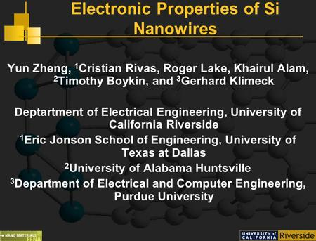 Electronic Properties of Si Nanowires Yun Zheng, 1 Cristian Rivas, Roger Lake, Khairul Alam, 2 Timothy Boykin, and 3 Gerhard Klimeck Deptartment of Electrical.
