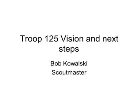 Troop 125 Vision and next steps Bob Kowalski Scoutmaster.