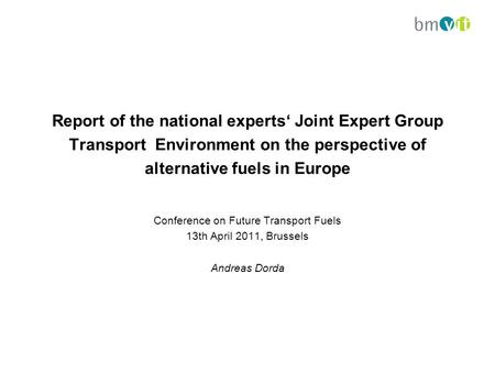 Report of the national experts' Joint Expert Group Transport Environment on the perspective of alternative fuels in Europe Conference on Future Transport.