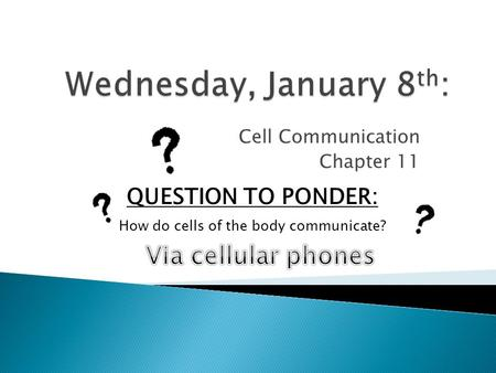Cell Communication Chapter 11 QUESTION TO PONDER: How do cells of the body communicate?