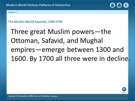 Next Chapter 2 Copyright © by Houghton Mifflin Harcourt Publishing Company Modern World History: Patterns of Interaction Three great Muslim powers—the.