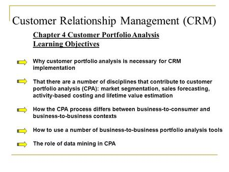 analysis of customer portfolio and relationship management models