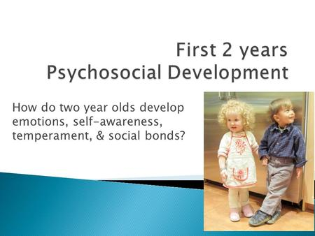 How do two year olds develop emotions, self-awareness, temperament, & social bonds?