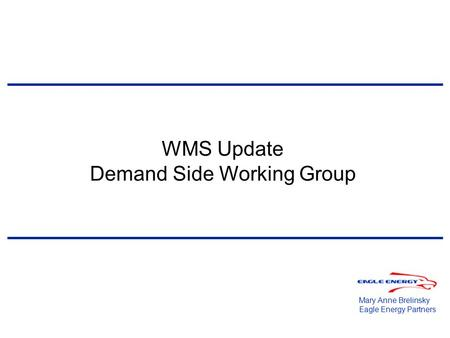 WMS Update Demand Side Working Group Mary Anne Brelinsky Eagle Energy Partners.