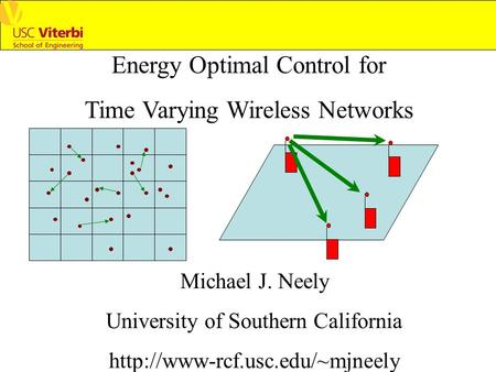 Energy Optimal Control for Time Varying Wireless Networks Michael J. Neely University of Southern California
