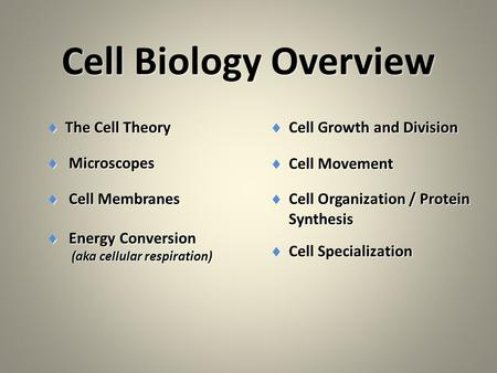 Cell Biology Overview  The Cell Theory  Microscopes  Cell Membranes  Energy Conversion (aka cellular respiration) (aka cellular respiration)  Cell.