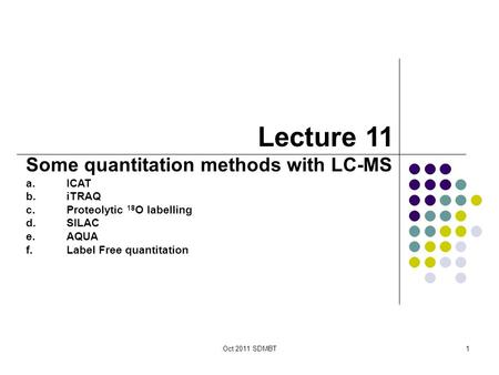 Oct 2011 SDMBT1 Lecture 11 Some quantitation methods with LC-MS a.ICAT b.iTRAQ c.Proteolytic 18 O labelling d.SILAC e.AQUA f.Label Free quantitation.