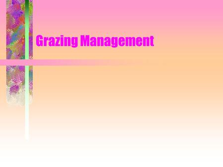 Grazing Management Season-Long Grazing One large pasture Pasture is grazed all summer long Same pattern every year.