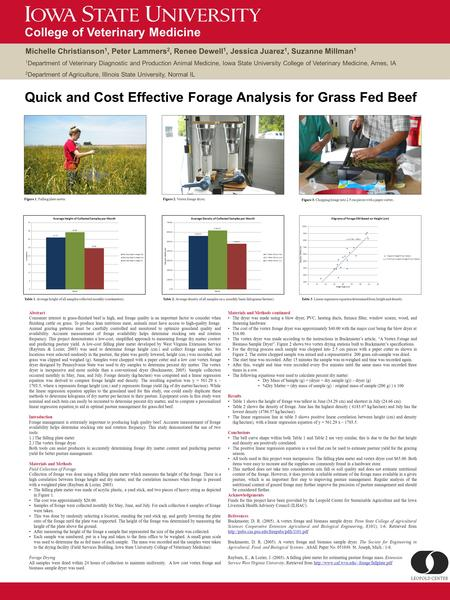 Quick and Cost Effective Forage Analysis for Grass Fed Beef Abstract Consumer interest in grass-finished beef is high, and forage quality is an important.