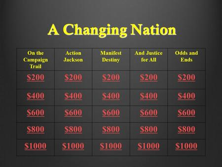 A Changing Nation On the Campaign Trail Action Jackson Manifest Destiny And Justice for All Odds and Ends $200 $400 $600 $800 $1000.