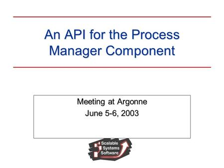 An API for the Process Manager Component Meeting at Argonne June 5-6, 2003.