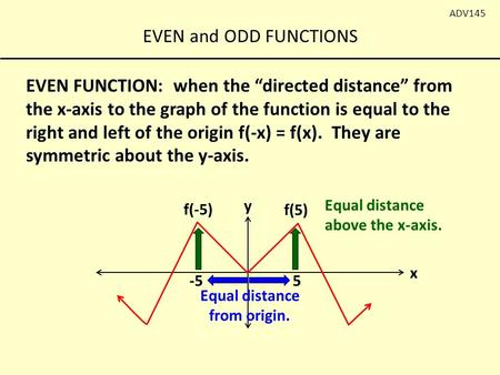 "EVEN and ODD FUNCTIONS ADV145 EVEN FUNCTION: when the ""directed distance"" from the x-axis to the graph of the function is equal to the right and left of."