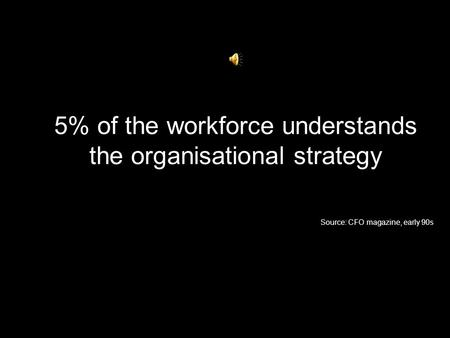 5% of the workforce understands the organisational strategy Source: CFO magazine, early 90s.