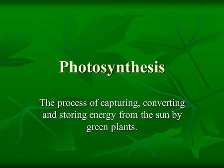 Photosynthesis The process of capturing, converting and storing energy from the sun by green plants.