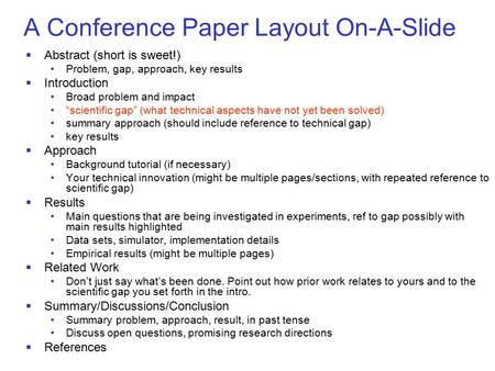 A Conference Paper Layout On-A-Slide