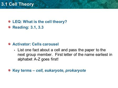 3.1 Cell Theory LEQ: How do enzymes help cells perform chemical reactions? LEQ: What is the cell theory? Reading: 3.1, 3.3 Activator: Cells carousel List.