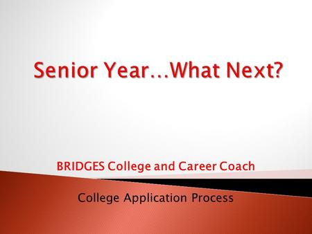 BRIDGES College and Career Coach College Application Process.
