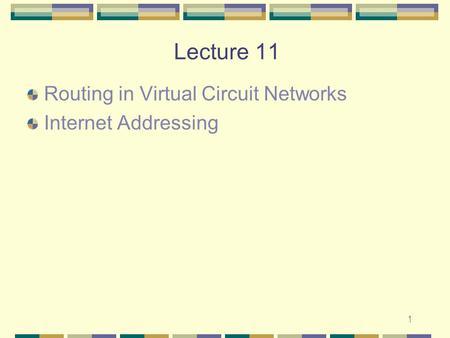 1 Lecture 11 Routing in Virtual Circuit Networks Internet Addressing.