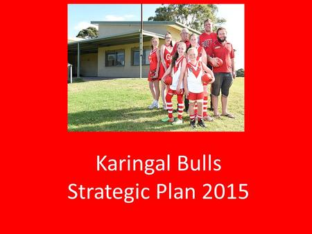 Karingal Bulls Strategic Plan 2015. VISION Karingal Bulls is the Leading Community Club of Choice.
