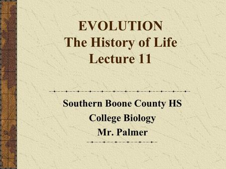 EVOLUTION The History of Life Lecture 11 Southern Boone County HS College Biology Mr. Palmer.