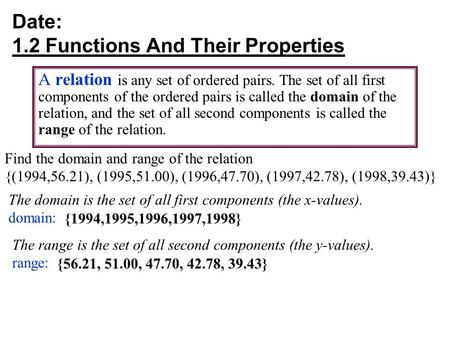 Date: 1.2 Functions And Their Properties A relation is any set of ordered pairs. The set of all first components of the ordered pairs is called the domain.