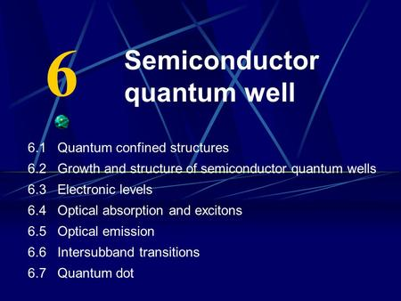 Semiconductor quantum well 6.1 Quantum confined structures 6.2 Growth and structure of semiconductor quantum wells 6.3 Electronic levels 6.4 Optical absorption.