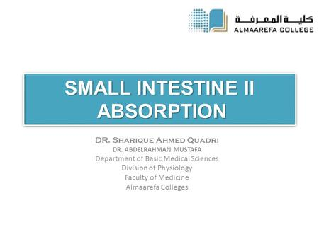 SMALL INTESTINE II ABSORPTION DR. Sharique Ahmed Quadri DR. ABDELRAHMAN MUSTAFA Department of Basic Medical Sciences Division of Physiology Faculty of.