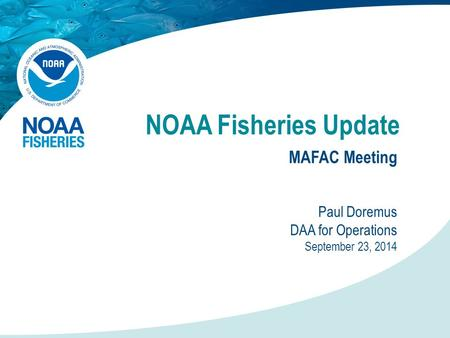 NOAA Fisheries Update MAFAC Meeting Paul Doremus DAA for Operations September 23, 2014.