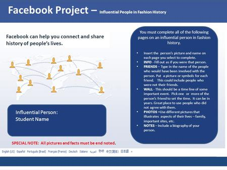 Facebook Project – Influential People in Fashion History Facebook can help you connect and share history of people's lives. You must complete all of the.