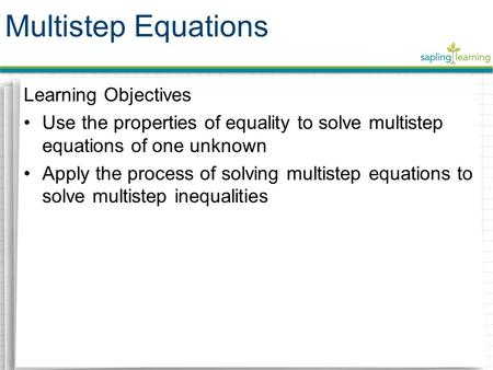 Multistep Equations Learning Objectives
