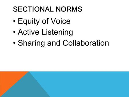 SECTIONAL NORMS Equity of Voice Active Listening Sharing and Collaboration.
