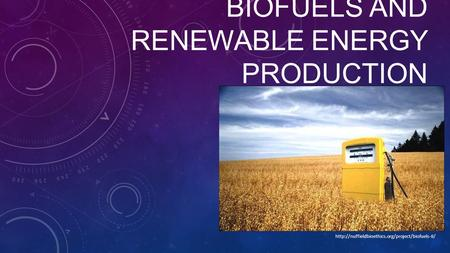 BIOFUELS AND RENEWABLE ENERGY PRODUCTION