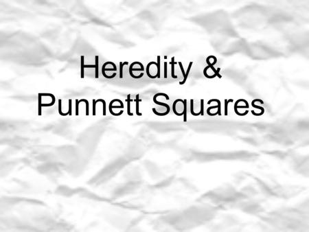 Heredity & Punnett Squares. If you look around the room you share some physical characteristic with your classmates. What do you see that you have in.