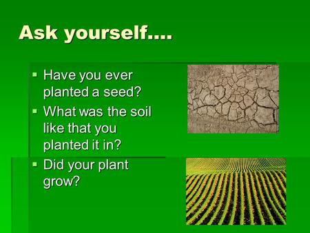 Ask yourself….  Have you ever planted a seed?  What was the soil like that you planted it in?  Did your plant grow?