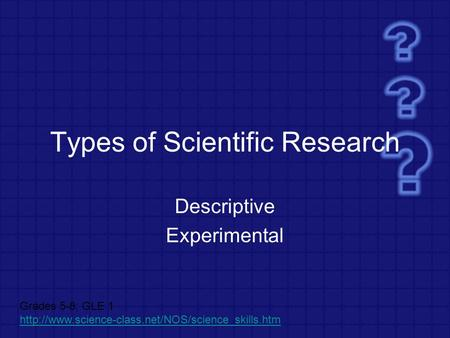 Types of Scientific Research Descriptive Experimental Grades 5-8; GLE 1