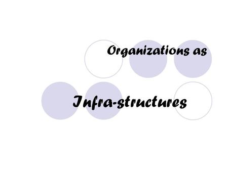 Organizations as Infra-structures. What is Organizational Structure? Specification of the jobs to be done within an organization and the ways in which.