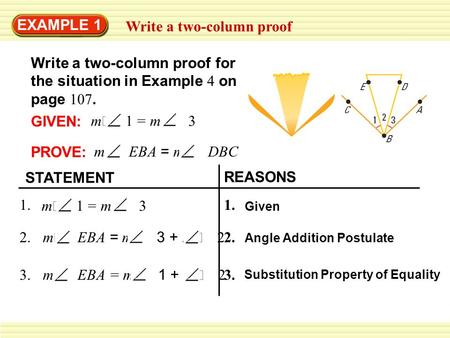 Write a two-column proof