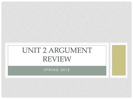 SPRING 2015 UNIT 2 ARGUMENT REVIEW. VOCABULARY Argument/Argumentation: The process of reasoning systematically in support of an idea, action or theory.
