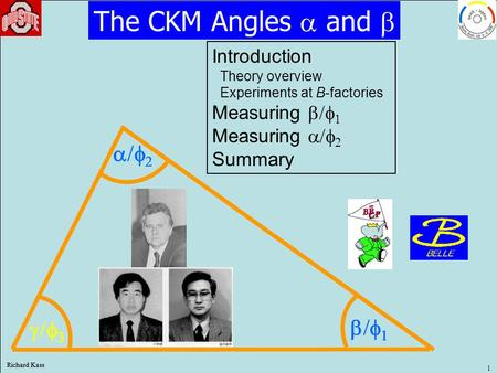 Richard Kass 1       The CKM Angles  and  Introduction Theory overview Experiments at B-factories Measuring   Measuring   Summary.