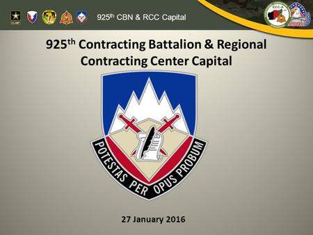 925th Contracting Battalion & Regional Contracting Center Capital